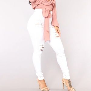 NWT Fashion nova white high waisted jeans